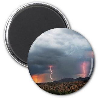 Lightning triple strike. 2 inch round magnet