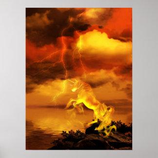 Lightning Unicorn Poster