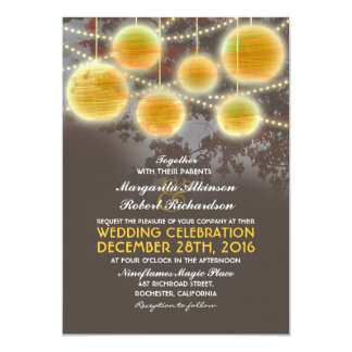 Lights and lanterns elegant wedding invitation