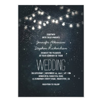 Lights and Night Stars Vintage Elegant Wedding Card