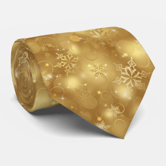 Lights and Snowflakes, Gold - Christmas Ties, Neck Tie