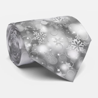Lights and Snowflakes, Silver - Christmas Ties, Neck Tie