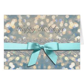 Lights Aqua with Silver Vine Border Holiday Card
