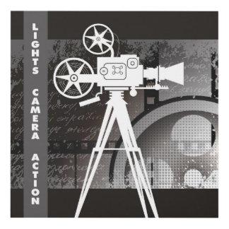 Lights, Camera, Action 12x12, Movie Theme Art Wood Wall Art