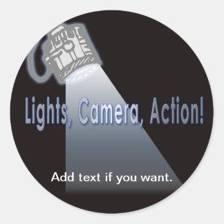 """Lights, Camera, Action!"" Classic Round Sticker"