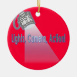 """Lights, Camera, Action!"" Double-Sided Ceramic Round Christmas Ornament"