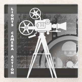 Lights, Camera, Action Glass Coaster, Movie Theme Glass Coaster