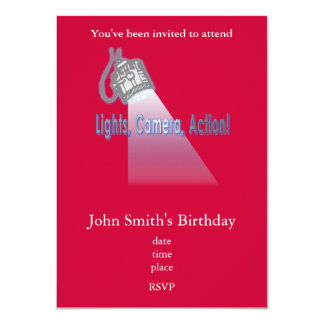 """Lights, Camera, Action!"" 4.5x6.25 Paper Invitation Card"