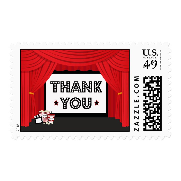 Lights camera action movie screen thank you stamps
