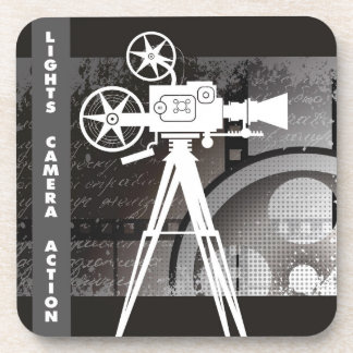 Lights, Camera, Action Movie Theme Plastic Coaster