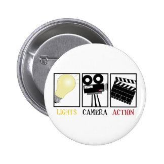 Lights Camera Action Pinback Button
