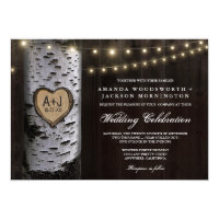 Lights   Carved Birch Tree Wedding Invitations
