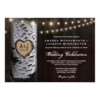 Lights + Carved Birch Tree Wedding Invitations