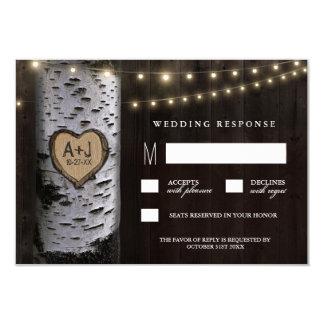 Lights + Carved Birch Tree Wedding RSVP Cards