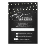 Lights Eat, Drink and Be Married Wedding RSVP card Custom Invite