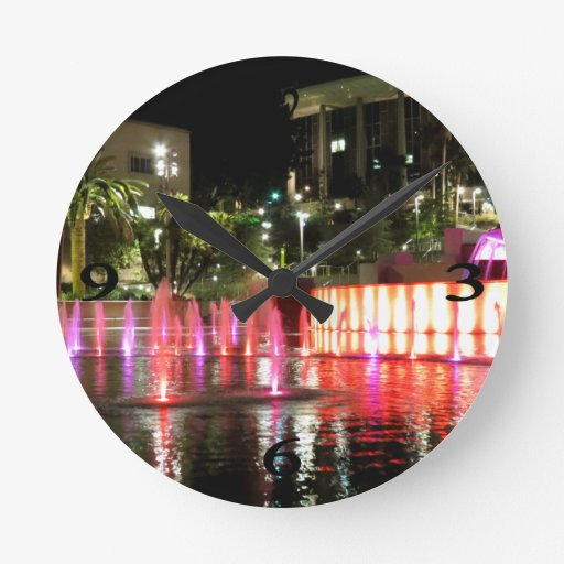 Lights In A Fountain Round Clocks