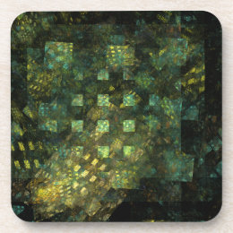 Lights in the City Abstract Art Cork Coaster
