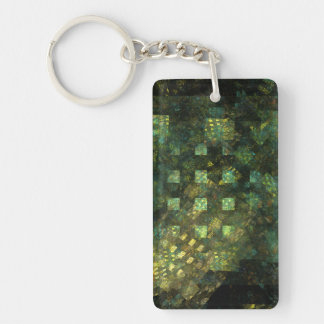Lights in the City Abstract Art Double-Sided Rectangular Acrylic Keychain