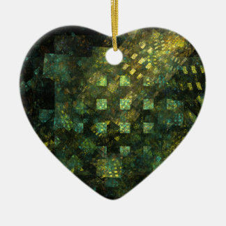 Lights in the City Abstract Art Heart Ornament