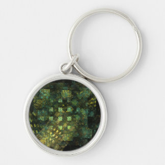 Lights in the City Abstract Art Small Silver-Colored Round Keychain