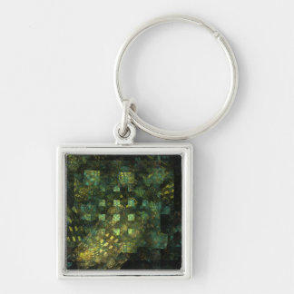 Lights in the City Abstract Art Small Silver-Colored Square Keychain