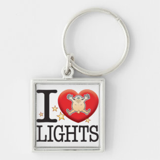 Lights Love Man Silver-Colored Square Keychain
