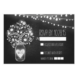 Lights mason jar chalkboard wedding RSVP cards