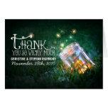 Lights mason jar dreamy wedding thank you card