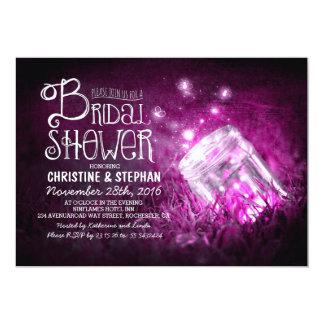 "Lights mason jar & fireflies bridal shower invites 5"" x 7"" invitation card"