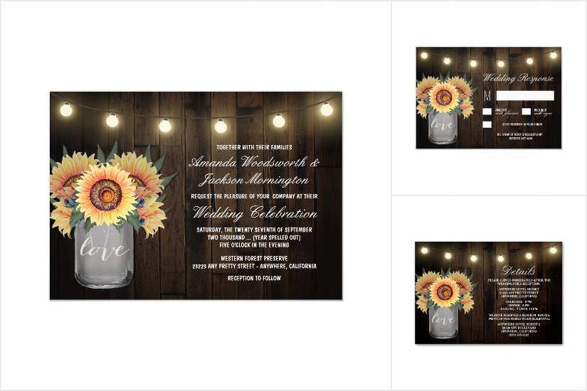 Lights Mason Jar + Sunflower Wedding Invitations Collection