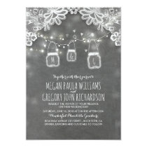 Lights Mason Jars Elegant Lace Rustic Wedding Card