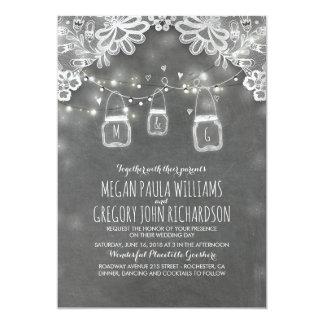Lights Mason Jars Elegant Lace Rustic Wedding Card