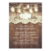 Lights Mason Jars Lace Rustic Country Chic Wedding Invitation
