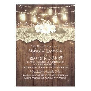 Mason jar wedding invitations zazzle lights mason jars lace rustic country chic wedding invitation filmwisefo