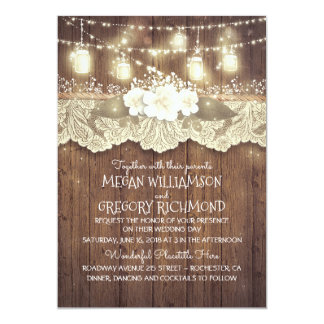 Lights Mason Jars Lace Rustic Country Chic Wedding Invitation