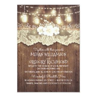 Lights Mason Jars Lace Wood Rustic Barn Wedding Card