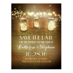Lights & Mason Jars Rustic Save The Date Postcard at Zazzle