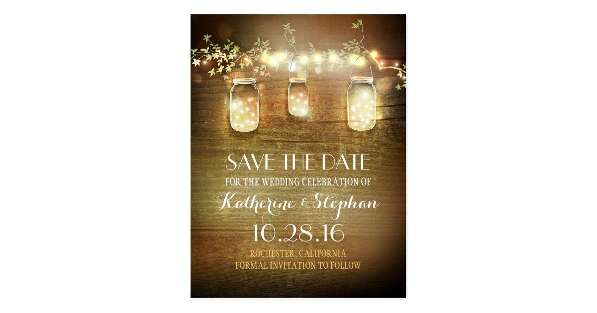 lights  u0026 mason jars rustic save the date postcard