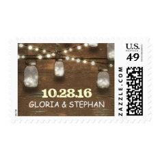 lights mason jars rustic wedding postage stamps at Zazzle
