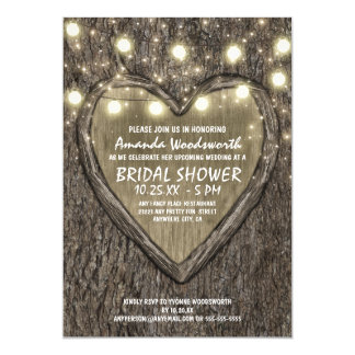 Lights + Oak Tree Bark Bridal Shower Invitations