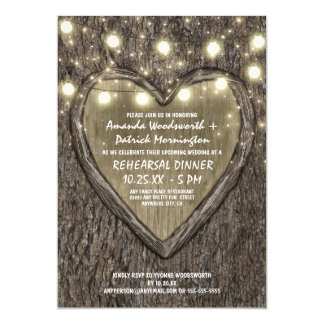 Lights Oak Tree Bark Rehearsal Dinner Invitations