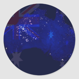Lights of Australia from Space and Flag. Round Sticker