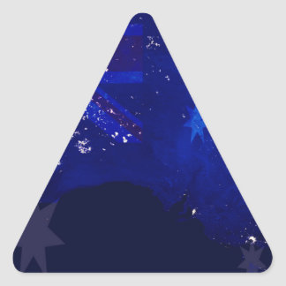 Lights of Australia from Space and Flag. Triangle Sticker