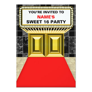 Lights of Broadway Marquee Sweet 16 - Customizable Card