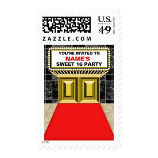 Lights of Broadway Marquee Sweet 16 - Customizable Postage