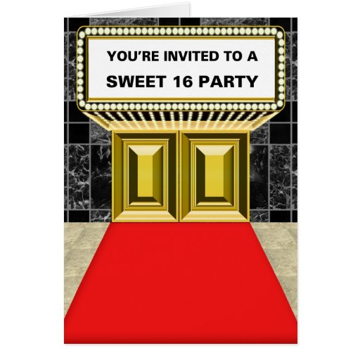 Lights of Broadway Marquee Sweet 16 Party Greeting Card