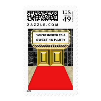 Lights of Broadway Marquee Sweet 16 Party Stamp