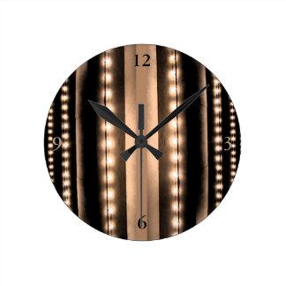 Lights of Broadway Sepia Khaki Coffee Colors Round Clock