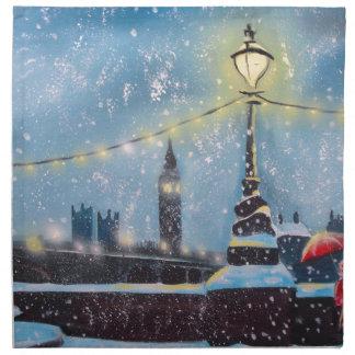 Lights of London winter painting Gordon Bruce art Cloth Napkin