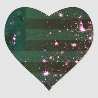 Lights of the United States from Space and Flag. Heart Stickers